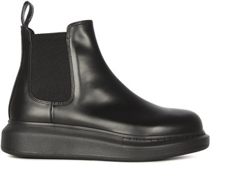 Alexander McQueen Lateral Elastic Leather Upper And Sole Chelsea Boots