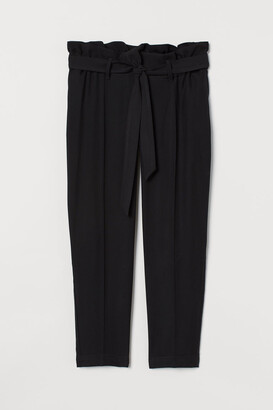 H&M MAMA Tie-belt Pants - Black
