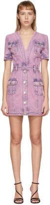 Balmain Pink Denim Acid Wash Short Dress