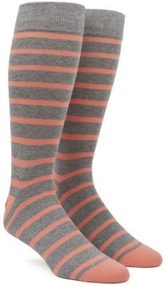Tie Bar Trad Stripe Peach Dress Socks