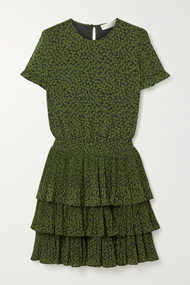 MICHAEL Michael Kors Lilly Ruffled Tiered Floral-print Crepe Mini Dress - Army green