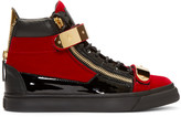 Giuseppe Zanotti Red & Black Velour High-Top London Sneakers