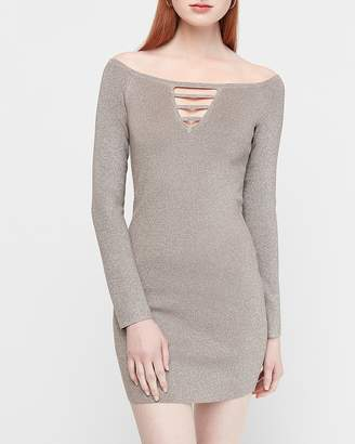Express Metallic Off The Shoulder Cut-Out Sheath Sweater Dress