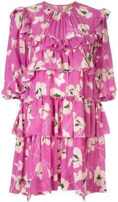 No.21 floral print tiered mini dress