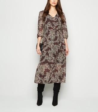 New Look Floral Chiffon Midi Dress