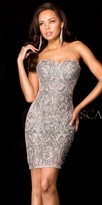 Scala Two Tone Sequin Strapless Cocktail Dress