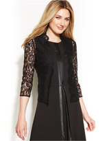 Calvin Klein Three-Quarter-Sleeve Sheer Lace Shrug