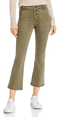 Frame Le Francoise Crop Mini Boot Exposed Button Jeans in Army Green - 100% Exclusive