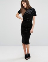 Warehouse Velvet Pencil Skirt