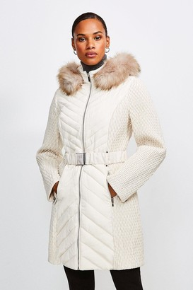 Karen Millen Long Quilted Faux Fur Trimmed Hood Coat
