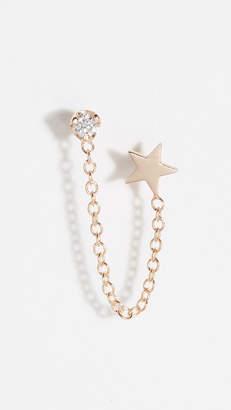Chicco Zoe 14k Double Stud Earrings with Star & Diamond Chain