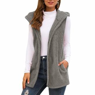Curt Shariah Womens Gilets Fluffy Fleece Hooded Cardigan Sleeveless JacketCasual Bodywarmer with Pockets