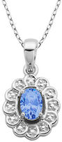 Lord & Taylor March Birthstone Aqua Cubic Zirconia and Sterling Silver Pendant