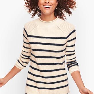 Talbots Cotton Shaker Stitch Roll Neck Sweater - Stripe