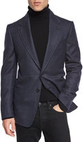Tom Ford Windowpane-Plaid Cardigan Jacket, Navy