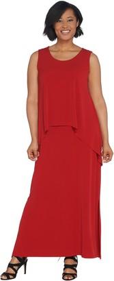 Susan Graver Petite Liquid Knit Tiered Maxi Dress