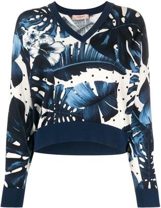 Twin-Set Twin Set studded sleeve floral print jumper