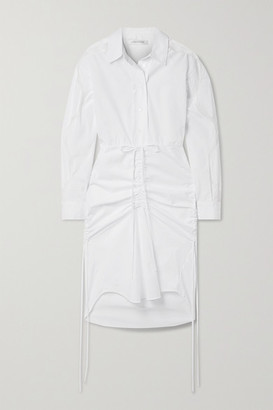 CHRISTOPHER ESBER Cummerbund Lace-trimmed Ruched Cotton-poplin Shirt Dress - White