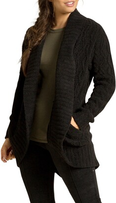Barefoot Dreams CozyChic(TM) Cable Knit Shawl Collar Cardigan