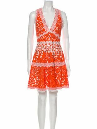 Alexis Lace Pattern Mini Dress Orange