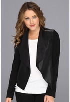 KUT from the Kloth Faux Leather Drape Jacket (Black) - Apparel