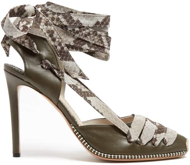 Altuzarra Python-print ribbon d'Orsay leather pumps
