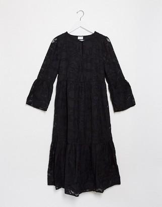 Vila lace peplum sleeve midi dress in black