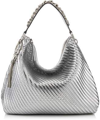 Jimmy Choo CALLIE/L Silver Mix Woven Metallic Fabric Slouchy Shoulder Bag