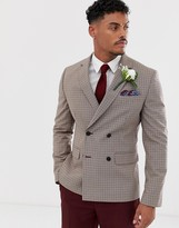 Asos Design DESIGN wedding slim double breasted check blazer in camel