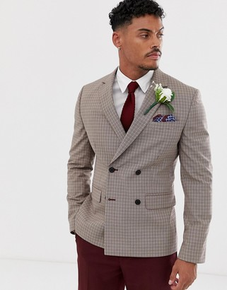 Asos Design DESIGN wedding slim double breasted check blazer in camel-Beige
