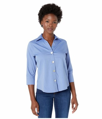 Foxcroft Women's Petite Size 3/4 Sleeve Paige Essential Non Iron Shirt