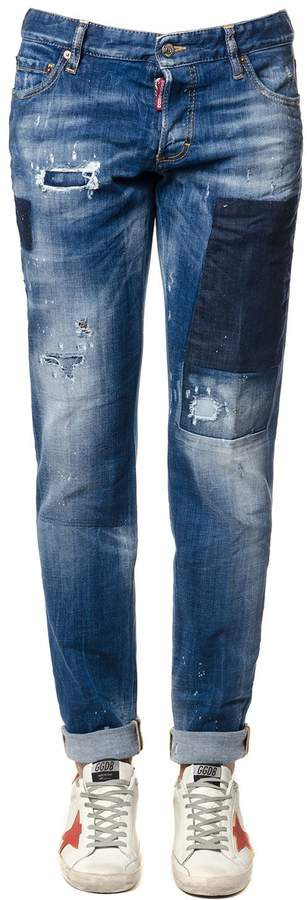 DSQUARED2 Blu Slim Jeans With Tears