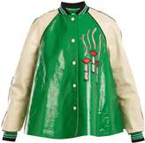 Valentino Lipstick-appliqué contrast-sleeve leather jacket