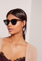 Missguided Half Frame Matte Tortoise Shell Sunglasses Brown