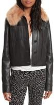 Diane von Furstenberg Women's Faux Fur Collar Leather Jacket