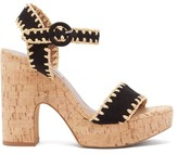 Tabitha Simmons Elena Whip Suede And Cork Platform Sandals - Womens - Black
