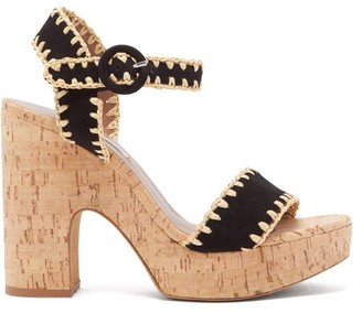 Tabitha Simmons Elena Whip Suede And Cork Platform Sandals - Womens - Black