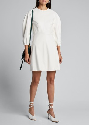 Tibi Structured Faux-Leather Short Dress