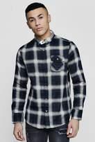 boohoo Long Sleeve Brushed Check Shirt With Flap Pocket