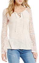 Buffalo David Bitton Lace-Up V-Neck Bell Sleeve Top