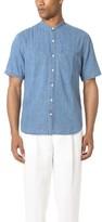 Club Monaco Short Sleeve Band Collar Denim Shirt
