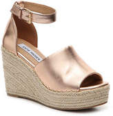Steve Madden Women's Jaylen Wedge Sandal -Cognac Suede/Leather