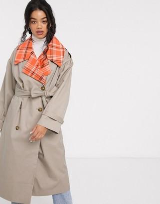 Asos Design DESIGN hybrid check trench coat-Beige