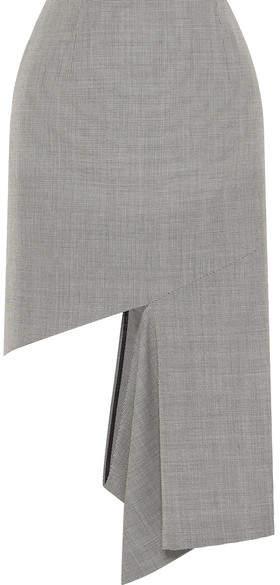 Maison Margiela Cutout Houndstooth Cotton Midi Skirt - Gray