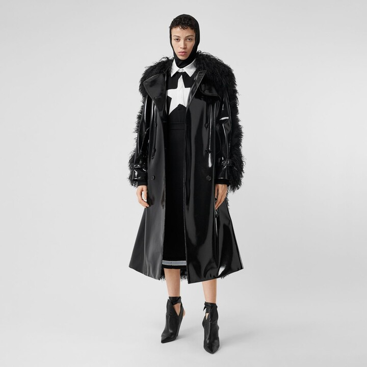 Burberry Shearling Trim Vinyl Trench Coat