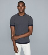 Reiss Ray - Striped Crew Neck T-shirt in Navy/white
