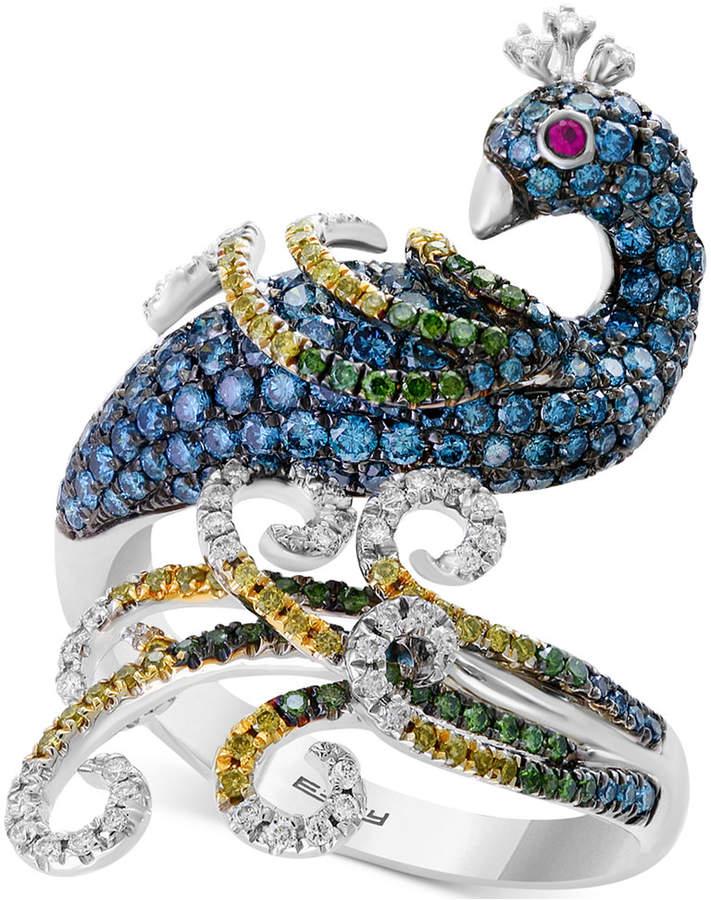 Effy Bella Bleu Diamond (1-7/8 ct. t.w.) & Ruby Accent Statement Ring in 14k White Gold