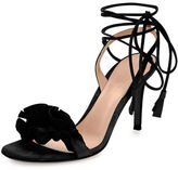 Gianvito Rossi Ruffled Suede Lace-Up Sandal
