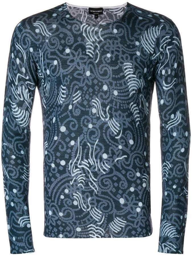 Emporio Armani printed long sleeve T-shirt