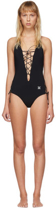 Off-White Black Front Tie One-Piece Swimsuit